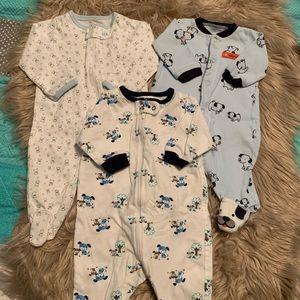 Gerber Carter's • 3 footie pajamas sleepers NB boy